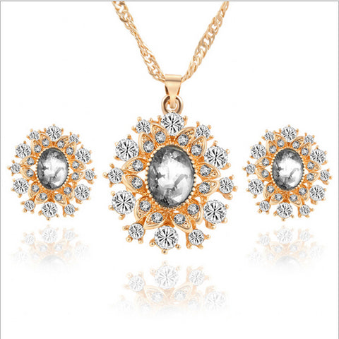 Rich Long Gold Plated Crystal Rhinestone Necklace & Earrings Jewelry S