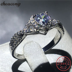 choucong Heart Shape Real Soild 925 sterling Silver ring AAAAA Zircon Engagement Wedding Band Rings