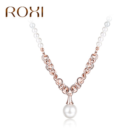 ROXI New Rose Gold Long Chain Necklace Pearl Pendants Necklaces