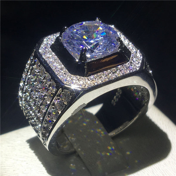 choucong Luxury Male ring Big 3ct Clear 5A zircon cz 925 Sterling Silver Band rings