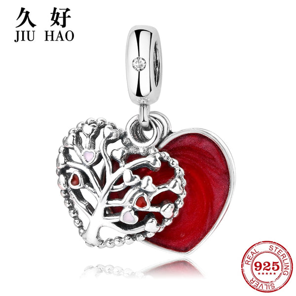 925 Sterling Silve Tree of Life Red heart Pandora Charms Bracelet