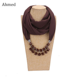 Ahmed Fashion Geometric Beads Pendant Long Maxi Scarf Necklaces