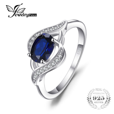 JewelryPalace Blue Sapphire Ring 925 Sterling Silver Jewelry Ring Sets