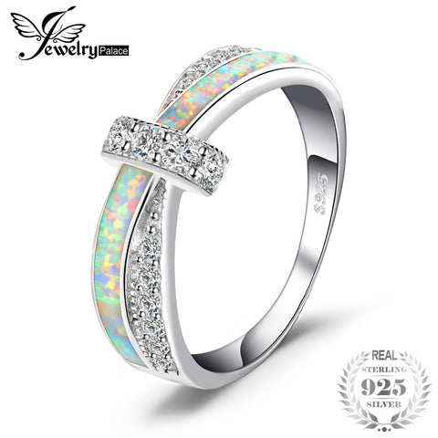 JewelryPalace Opal Crossover Band Ring 925 Sterling Silver Gift