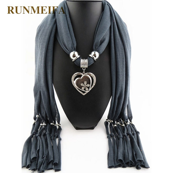 [RUNMEIFA] Women Scarves Elegant Jewelry Heart Gemstone Necklace Pendant Scarf