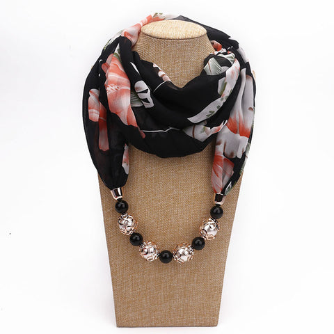 Scarf Necklace Bohemia Necklaces Women Chiffon Scarves Pendant Jewelry Wrap