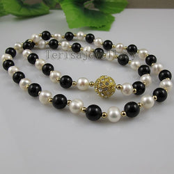 ,White Color Real Freshwater Pearls Black Agates Necklace Rhinestone Magnet Clasp