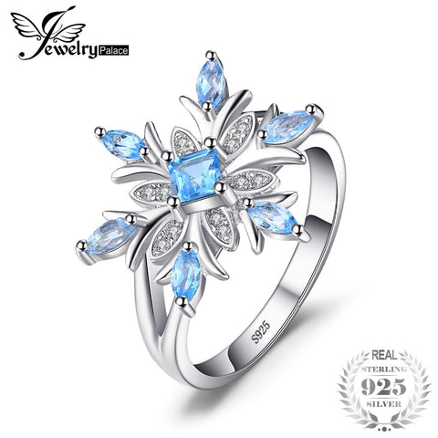 JewelryPalace Snowflake Genuine Blue Topaz Ring Solid 925 Sterling Silver