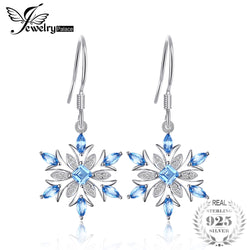 JewelryPalace Snowflake Genuine Swiss Blue Topaz  925 Sterling Silver Earring