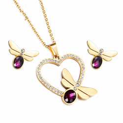 Dragonfly Jewelry Set  Stainless Steel Rhinestone Heart