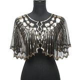 Women Scarves 1920s Flapper Embroidery Fringe Shawl Cover Up