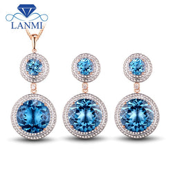 Fine Blue Topaz  14K Rose Gold