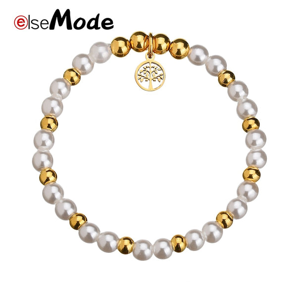 Tree of Life Lucky Clover Pearl Hollow Beads Bracelets Gold Stainless Steel