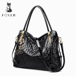 FOXER  Genuine Leather Shoulder Bag Sequin Cowhide Handbags