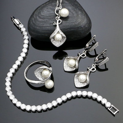 925 Sterling Silver  Jewelry Sets White Pearl