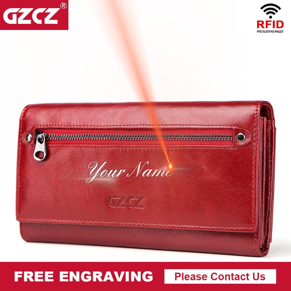 Genuine Leather Women Long Wallet