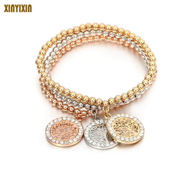 Gold Crystal Round Tree Of Life Beads Bracelets