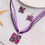 Jewelry Set 2019 Leather Chain Enamel Gem Jewelry Set