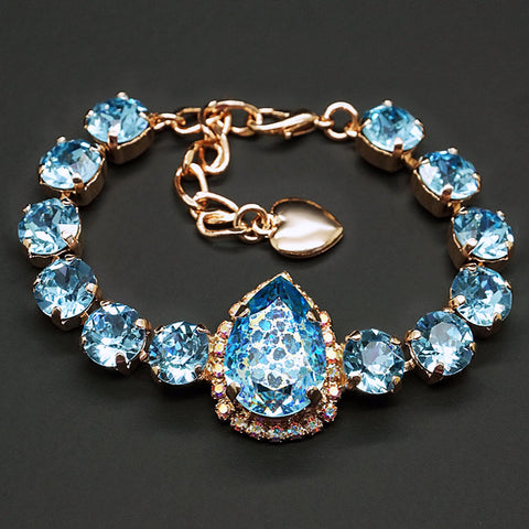 "Bracelet ""Celestial Drop (Aquamarine White Patina)"" with Swarovski™ crystals"