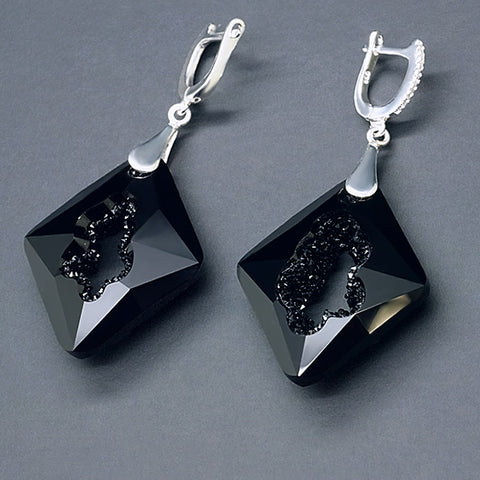 "925 Sterling Silver Earrings ""Growing Crystal III (Jet)"" with Crystals From Swarovski™"
