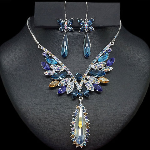"Jewelry Set ""Sapphire Butterfly"" with Swarovski™ crystals"
