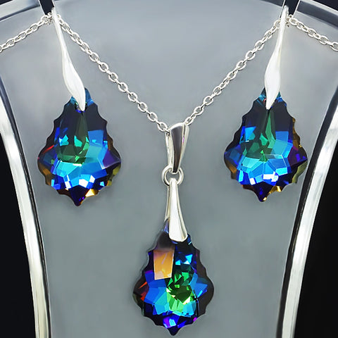 "925 Sterling Silver Jewelry Set ""Baroque IV (Meridian Blue)"" with Swarovski™ crystals"