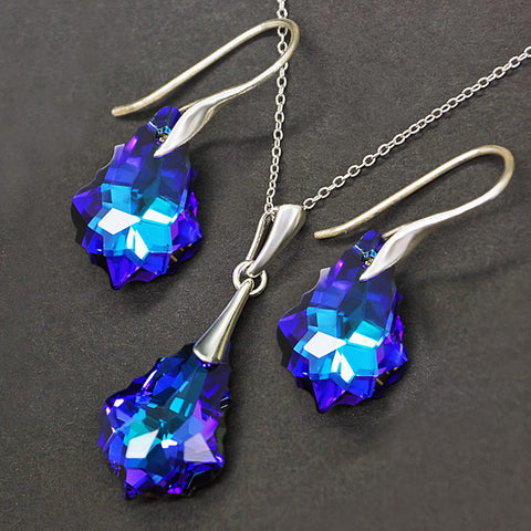 "925 Sterling Silver Jewelry Set ""Baroque IV (Heliotrope)"" with crystals from Swarovski™"