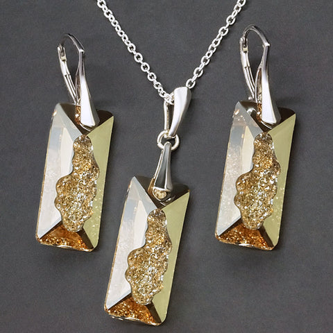"925 Sterling Silver Jewelry Set ""Growing Crystal II (Golden Shadow)"" with Swarovski™ crystals"