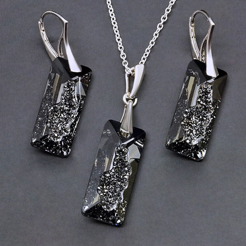 "925 Sterling Silver Jewelry Set ""Growing Crystal II (Silver Night)"" with Swarovski™ crystals"