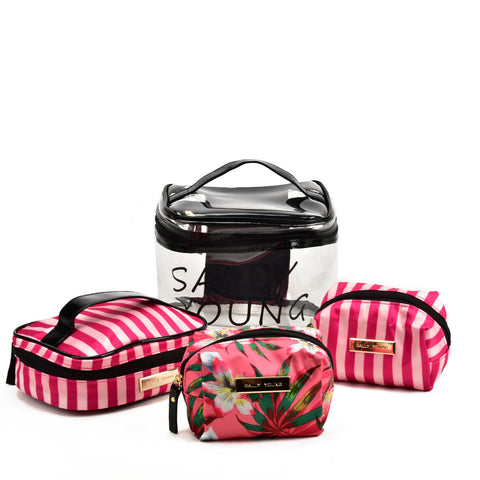 SY2186 RED - Transparent Large Medium And Small Four Pieces Set Bags