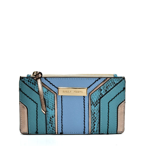 SY5058 BLUE - Snake Skin Pattern Wallet With Color Collision Design