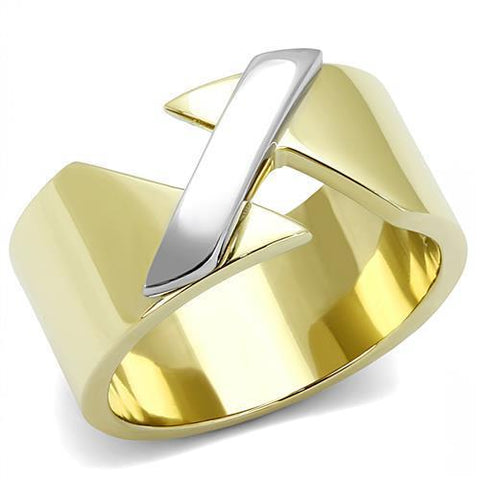 TK3184 Two-Tone IP Gold (Ion Plating) Stainless Steel Ring with No Stone in No Stone