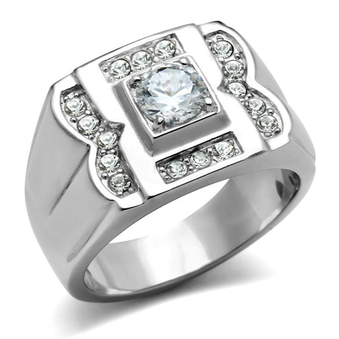 TK318 High polished (no plating) Stainless Steel Ring with AAA Grade CZ in Clear