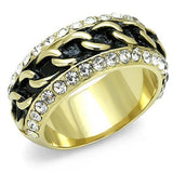 TK3196 IP Gold(Ion Plating) Stainless Steel Ring with Top Grade Crystal in Clear