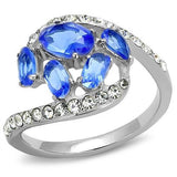 TK3211 High polished (no plating) Stainless Steel Ring with Synthetic in Sapphire