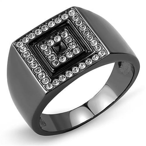 TK3220 IP Light Black  (IP Gun) Stainless Steel Ring with Top Grade Crystal in Clear