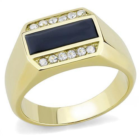 TK3222 IP Gold(Ion Plating) Stainless Steel Ring with AAA Grade CZ in Clear