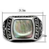 TK325 High polished (no plating) Stainless Steel Ring with Precious Stone in Gray
