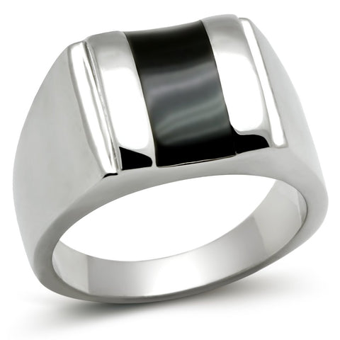 TK326 High polished (no plating) Stainless Steel Ring with Epoxy in Jet
