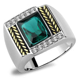 TK3295 Two-Tone IP Gold (Ion Plating) Stainless Steel Ring with Synthetic in Blue Zircon