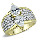 TK3442 Two-Tone IP Gold (Ion Plating) Stainless Steel Ring with AAA Grade CZ in Clear