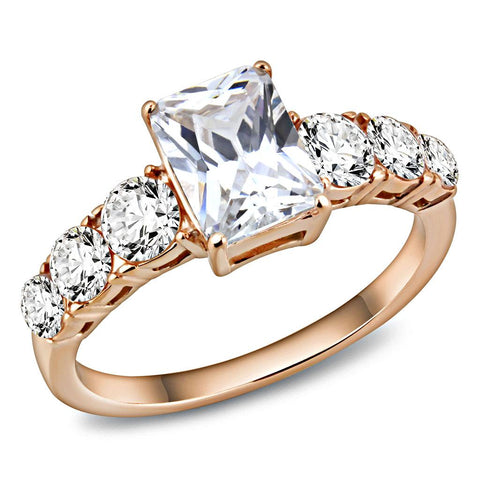 TK3517 IP Rose Gold(Ion Plating) Stainless Steel Ring with AAA Grade CZ in Clear