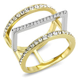 TK3593 Two-Tone IP Gold (Ion Plating) Stainless Steel Ring with Top Grade Crystal in Clear