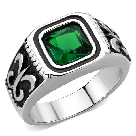 TK3616 High polished (no plating) Stainless Steel Ring with Synthetic in Emerald