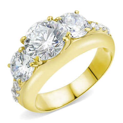 TK3669 IP Gold(Ion Plating) Stainless Steel Ring with AAA Grade CZ in Clear