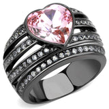 TK3686 IP Black(Ion Plating) Stainless Steel Ring with Top Grade Crystal in Light Rose