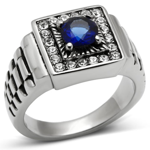 TK370 High polished (no plating) Stainless Steel Ring with Synthetic in Montana