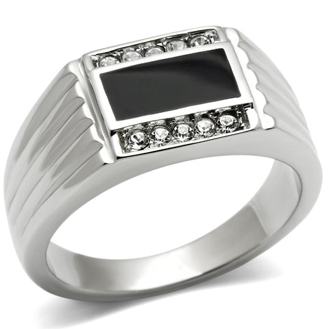 TK386 High polished (no plating) Stainless Steel Ring with Top Grade Crystal in Clear