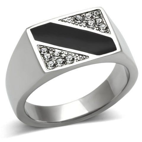 TK387 High polished (no plating) Stainless Steel Ring with Top Grade Crystal in Clear