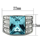 TK394 High polished (no plating) Stainless Steel Ring with Synthetic in Sea Blue